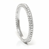 Ladies 18K White Gold Diamond Eternity Wedding Band by Belloria