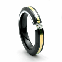 Ladies Black Titanium & 18K Gold Ring with Tension Set Diamond