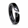 "Ladies Black Titanium ""Diagonal"" Ring by Edward Mirell"
