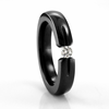 Ladies Black Titanium Ring with Tension Set Diamond
