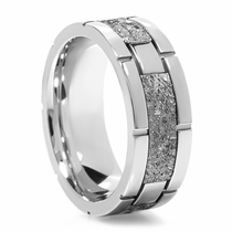 LASHBROOK DESIGNS Cobalt & Meteorite Ring With Square Pattern - CRAG