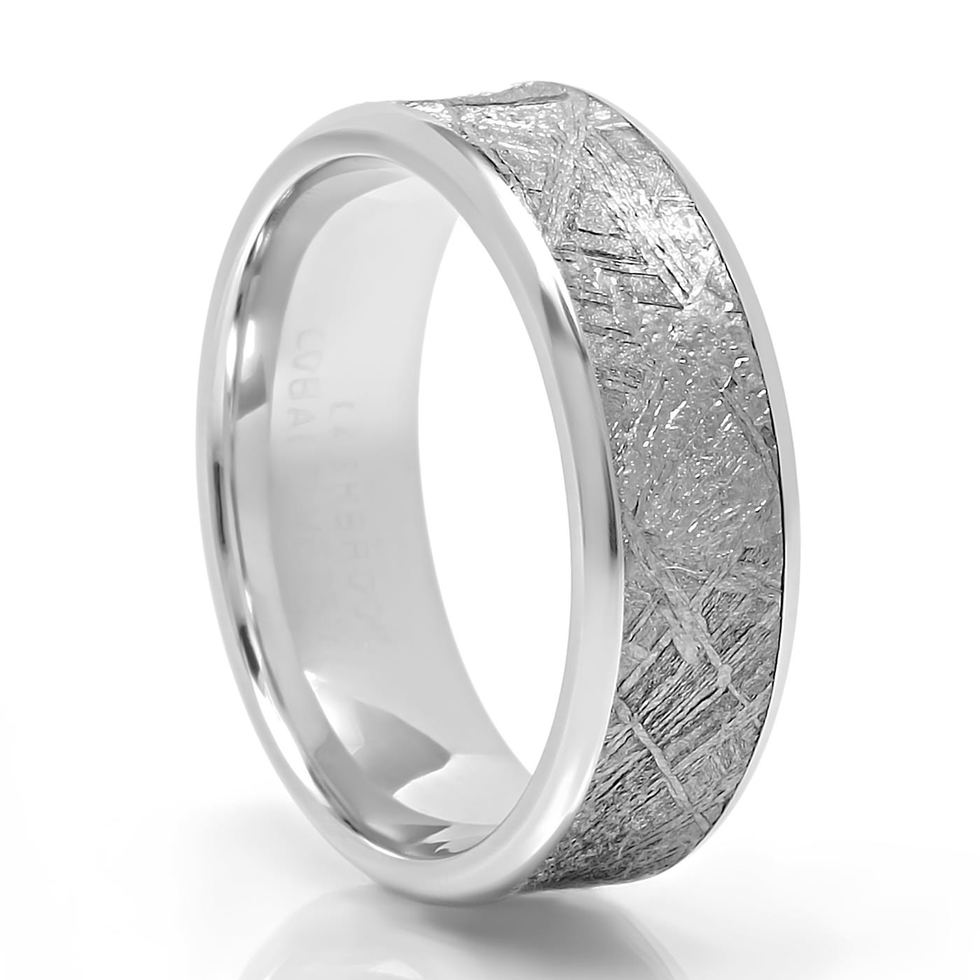 lashbrook fusion cobalt gibeon meteorite wedding band 7mm - Cobalt Wedding Rings