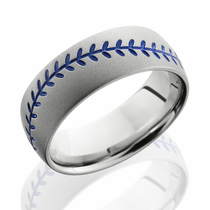 Cobalt Chrome Blue Baseball Design Ring