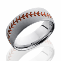 Cobalt Chrome Orange Baseball Design Ring