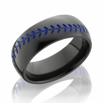 Black Zirconium Blue Baseball Design Ring