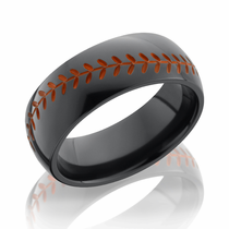 Black Zirconium Orange Baseball Design Ring