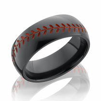 Black Zirconium Red Baseball Design Ring