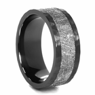 LASHBROOK DESIGNS Hammered Black Zirconium & Meteorite Ring  Astro