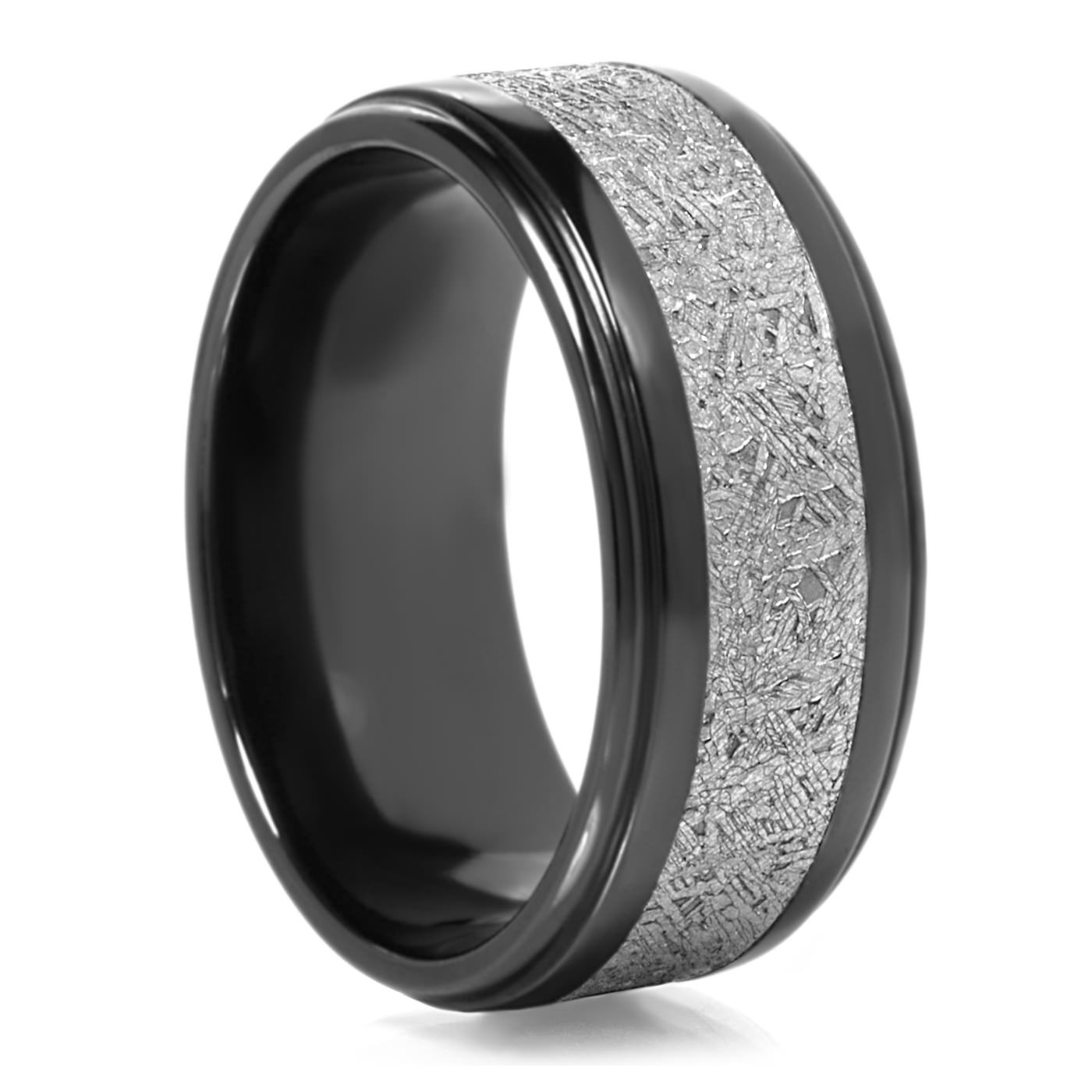 lashbrook black zirconium meteorite mens wedding band 90 day returns