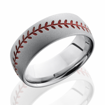 Cobalt Chrome Red Baseball Design Ring