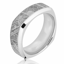 Lashbrook Meteorite & Cobalt Square Wedding Band