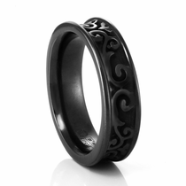 LATTICE Black Titanium Concave Ring by Edward Mirell