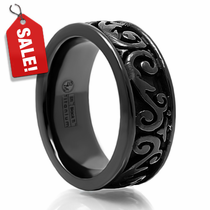 LATTICE Black Titanium Ring by Edward Mirell - 8mm