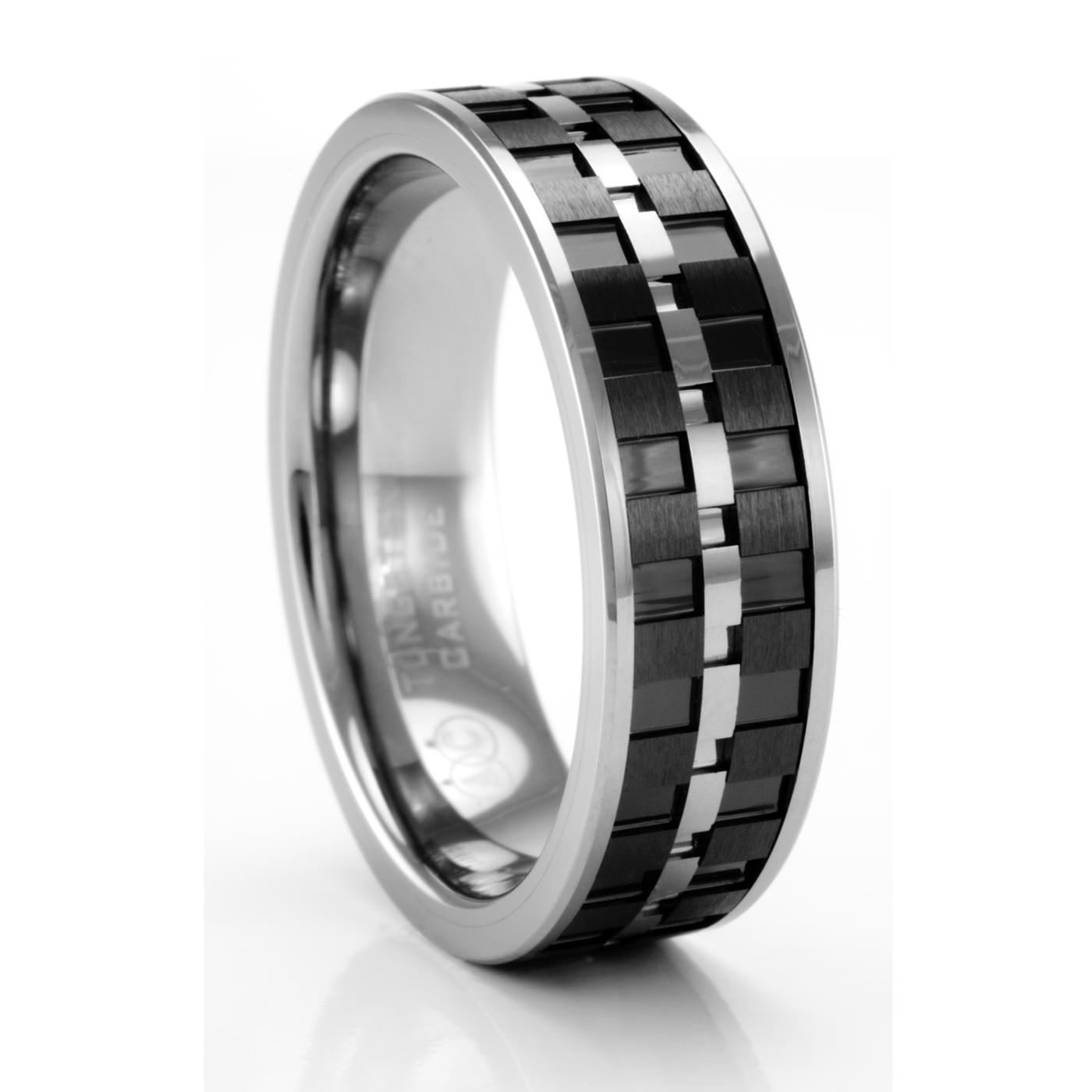 lorenzo tungsten carbon fiber ring artcarved mens wedding bands - Carbon Fiber Wedding Rings