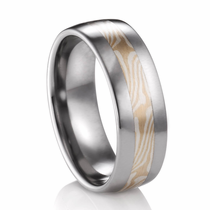 Mokume Gane Titanium Ring -  White Gold