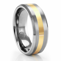 PIETRA  Beveled Tungsten & 14K Yellow Gold Ring by Heavy Stone Rings