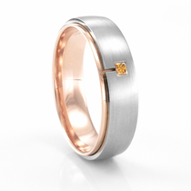 Palladium, Rose Gold & Tangerine-Colored Diamond Band by COGE