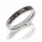 Pink Mossy Oak Camo 4mm Titanium Ring