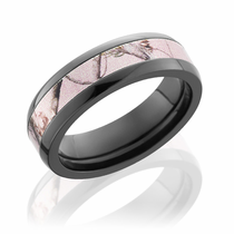 Pink Realtree Camo Black Zirconium 6mm Ring