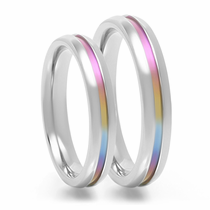 Rainbow Anodized Titanium Ring Set - IRIS