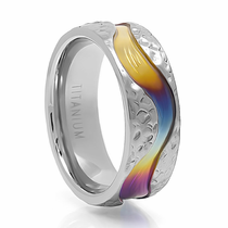 Rainbow Hammer Finish Titanium Ring - SPECTRUM