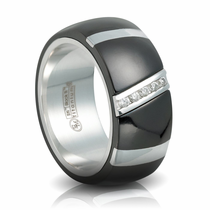 RAPTURE Black Ti & Diamond Band with Sterling Silver by EDWARD MIRELL