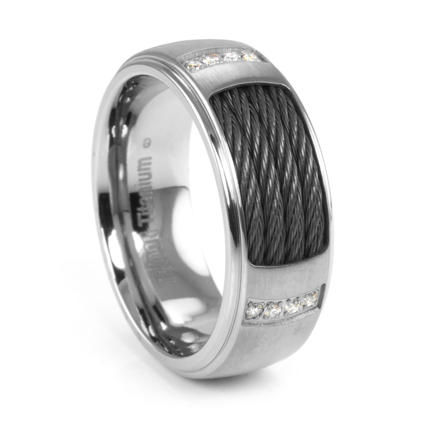 REID 8mm Mens Titanium Diamond Ring Triton Titanium Cable Rings