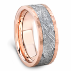 Rose Gold Meteorite Ring With Hammer Finish by Lashbrook