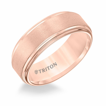 Rose Tungsten 8mm Double Step Edge Ring by Triton