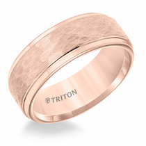 Rose Tungsten 8mm Hammered Ring by Triton