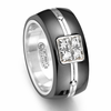 ROYALE Black Titanium Ring with Diamonds by Edward Mirell