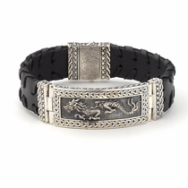 Samuel B Sterling Silver Deluxe Naga Dragon Leather Bracelet