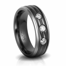 Sculpted Black Titanium Wedding Band with Diamonds by Edward Mirell