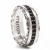 TRITON Sterling Silver Ring With Black Sapphires Montague