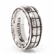 TRITON Sterling Silver Wedding Band - Bastion