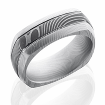 Square Damascus Steel Ring by Lashbrook Designs
