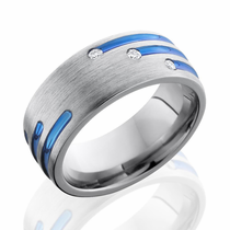 Staggered Diamonds and Blue Anodized Stripe Ring by Lashbrook Designs
