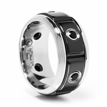 Stainless Steel & Black Titanium Ring With Black Spinel