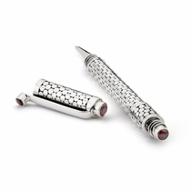 Sterling Silver Hand Made Pen with Garnets, Bali Dots - by Samuel B
