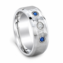 WARREN - Customizable 3 Stone Mens Ring by J.R. YATES
