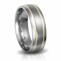 Titanium & 14K Gold Beaded Inlay Wedding Band by Edward Mirell