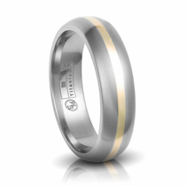 Titanium & 14K Gold Inlay Wedding Band by Edward Mirell