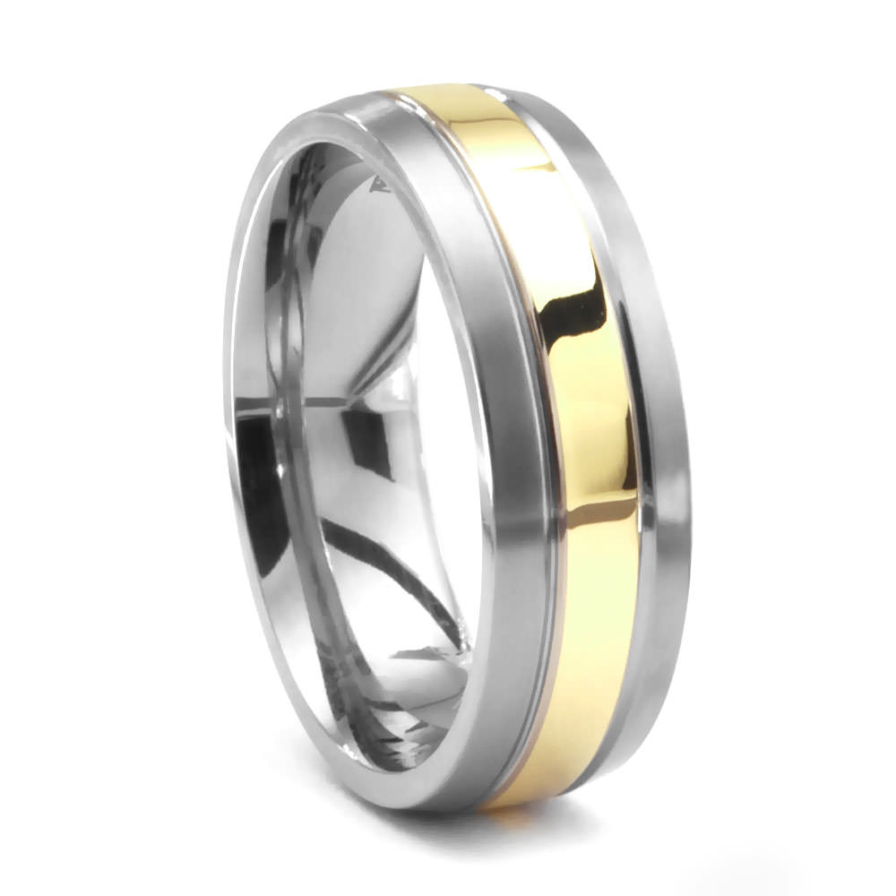 Mens Wedding Bands Titanium.Quest Titanium And 14k Gold Wedding Band