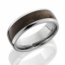 Titanium and Canxan Burl Hardwood Inlay Ring by Lashbrook Designs