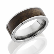 Titanium and Canxan Burl Inlay Ring by Lashbrook Designs