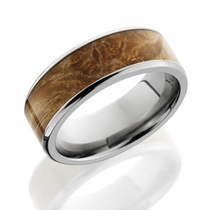 Titanium and Maple Burl Hardwood Ring by Lashbrook Designs