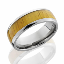 Titanium and Osage Orange Hardwood Inlay Ring by Lashbrook Designs