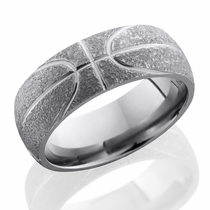 Titanium Basketball Design Ring by Lashbrook Designs
