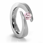 Titanium Bypass Engagement Ring with Pink Diamond