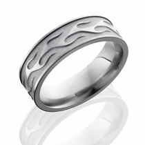 Titanium Flame Design Ring by Lashbrook Designs